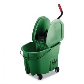 Rubbermaid® Commercial WaveBrake 2.0 Bucket/Wringer Combos, 35qt, Down Press, Plastic, Green