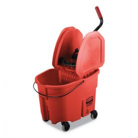 Rubbermaid® Commercial WaveBrake 2.0 Bucket/Wringer Combos, 35qt, Down Press, Plastic, Red