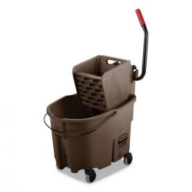 Rubbermaid® Commercial WaveBrake 2.0 Bucket/Wringer Combos, Side-Press, 35qt, Plastic, Brown
