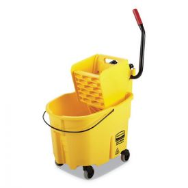 Rubbermaid® Commercial WaveBrake 2.0 Bucket/Wringer Combos, Side-Press, 35qt, Plastic, Yellow