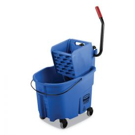 Rubbermaid® Commercial WaveBrake 2.0 Bucket/Wringer Combos, Side-Press, 35qt, Plastic, Blue