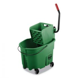 Rubbermaid® Commercial WaveBrake 2.0 Bucket/Wringer Combos, Side-Press, 35qt, Plastic, Green