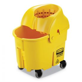 Rubbermaid® Commercial WaveBrake 2.0 Bucket/Wringer Combos, Down-Press, 35qt, Plastic, Yellow