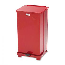 Rubbermaid® Commercial Defenders Biohazard Step Can, Square, Steel, 12 gal, Red