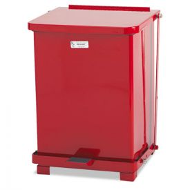 Rubbermaid® Commercial Defenders Biohazard Step Can, Square, Steel, 7 gal, Red