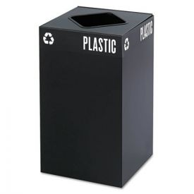 Safco® Public Square Plastic-Recycling Container, Square, Steel, 25gal, Black