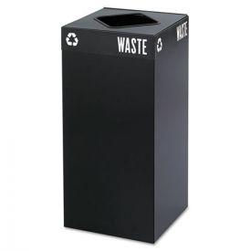 Safco® Public Square Trash Container, Square, Steel, 31gal, Black