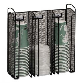 Safco® Onyx Breakroom Organizers, 3Compartments, 12.75x4.5x13.25, Steel Mesh, Black