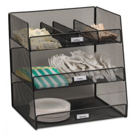 Safco® Onyx Breakroom Organizers, 3 Compartments,14.625x11.75x15, Steel Mesh, Black