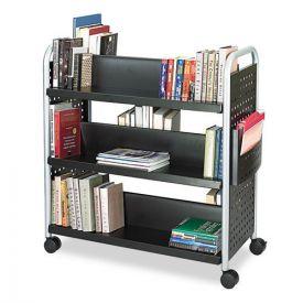 Safco® Scoot Book Cart, Six-Shelf, 41.25w x 17.75d x 41.25h, Black
