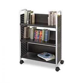 Safco® Scoot Book Cart, Three-Shelf, 33w x 14.25d x 44.25h, Black