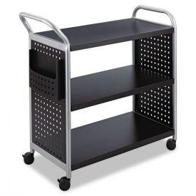 Safco® Scoot Three-Shelf Utility Cart, 31w x 18d x 38h, Black/Silver