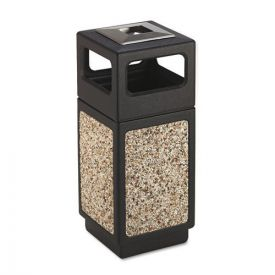 Safco® Canmeleon Ash/Trash Receptacle, Square, Aggregate/Polyethylene, 15gal, Black