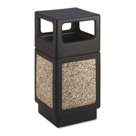 Safco® Canmeleon Side-Open Receptacle, Square, Aggregate/Polyethylene, 38gal, Black