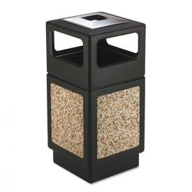 Safco® Canmeleon Ash/Trash Receptacle, Square, Aggregate/Polyethylene, 3gal, Black