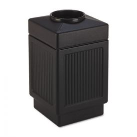 Safco® Canmeleon Top-Open Receptacle, Square, Polyethylene, 38gal, Textured Black