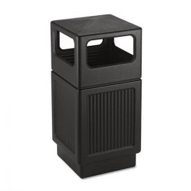 Safco® Canmeleon Side-Open Receptacle, Square, Polyethylene, 38gal, Textured Black