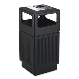 Safco® Canmeleon Ash/Trash Receptacle, Square, Polyethylene, 38gal, Textured Black