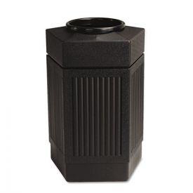 Safco® Canmeleon Indoor/Outdoor Receptacle, Pentagon, Polyethylene, 30gal, Black