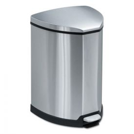 Safco® Step-On Waste Receptacle, Triangular, Stainless Steel, 4gal, Chrome/Black