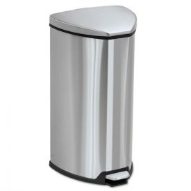 Safco® Step-On Waste Receptacle, Triangular, Stainless Steel, 7gal, Chrome/Black