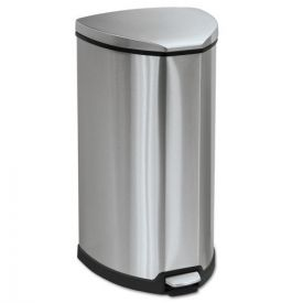 Safco® Step-On Waste Receptacle, Triangular, Stainless Steel, 10gal, Chrome/Black