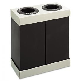 Safco® At-Your-Disposal Recycling Center, Polyethylene, 2-56gal Bins, Black