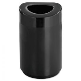Safco® Open Top Round Waste Receptacle, Steel, 30gal, Black