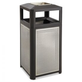 Safco® Ashtray-Top Evos Series Steel Waste Container, 38gal, Black