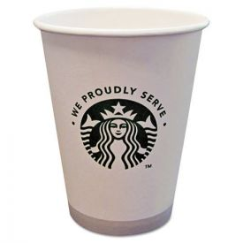 Starbucks® Hot Cups, 12oz, White with Green Logo