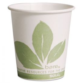 SOLO® Cup Company Bare Eco-Forward Paper Treated Water Cups, Cold, 3oz. White/Green