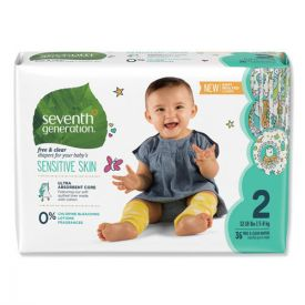 Seventh Generation® Free and Clear Baby Diapers, Size 2, 12lbs to 18lbs