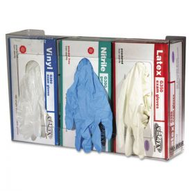 San Jamar® Clear Plexiglas Disposable Glove Dispenser, Three-Box, 18w x 3 3/4d x 10h