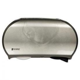 San Jamar® Twin Jumbo Bath Tissue Dispenser, 19 1/4 x 6 x 12 1/4, Faux Stainless Steel