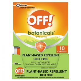 OFF!® Botanicals Insect Repellant, Box, 10 Wipes