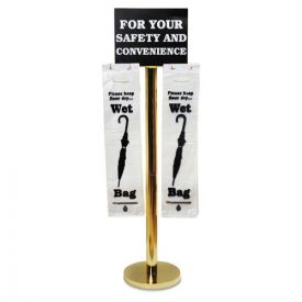Tatco Wet Umbrella Bag Stand, 16w x 12d x 54.5h, Brass/Black/White