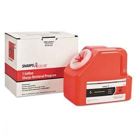 TrustMedical Sharps Retrieval Program Containers, 1 gal, Cardboard/Plastic, Red