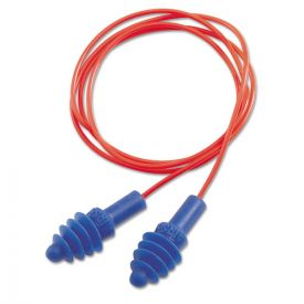 Howard Leight® by Honeywell DPAS-30R AirSoft Multiple-Use Earplugs, 27NRR, Red Polycord, Blue