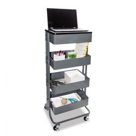 Vertiflex® Multi-Use Storage Cart/Stand-Up Workstation, 15.25w x 11.25d x 18.5 to 39h, Gray