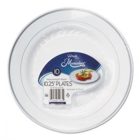 WNA Masterpiece Plastic Plates, 10.25in, White w/Silver Accents, Round