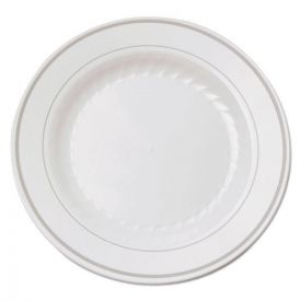 WNA Masterpiece Plastic Plates, 6in. White w/Silver Accents, Round