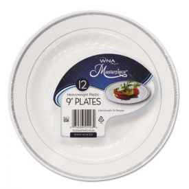 WNA Masterpiece Plastic Plates, 9in, White w/Silver Accents, Round