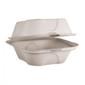 World Centric® Fiber Hinged Burger Box Containers, 6 x 6 x 3, Natural