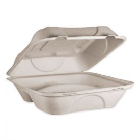World Centric® Fiber Hinged Containers, 3 Compartments, 9 x 9 x 3, Natural