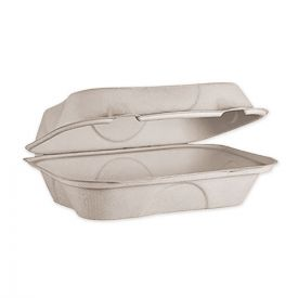 World Centric® Fiber Hinged Hoagie Box Containers, 9 x 6 x 3, Natural