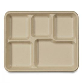 World Centric® Fiber Trays, School Tray with Five-Compartments, 10.5 x 8.5 x 1, Natural