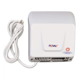 WORLD DRYER® NOVA Hand Dryer, 110-120V, Aluminum, White