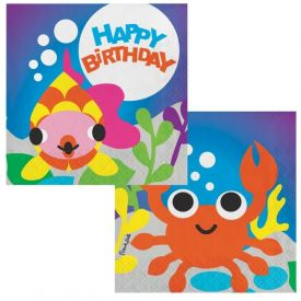Juvi Ocean Luncheon Napkins 3-ply Happy Birthday