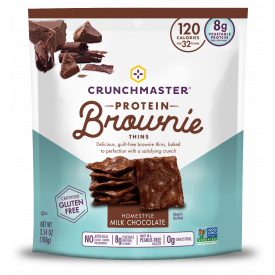 Crunchmaster Protein Brownie Thins Milk Chocolate 3.54oz.