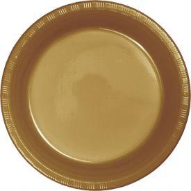 Glittering Gold Banquet Plastic Plates Bulk 10